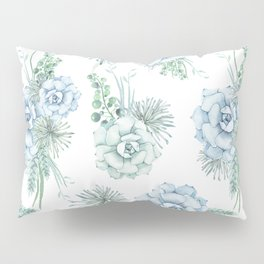 Succulents Pastel Mint Green Turquoise Teal Sky Blue Pattern Pillow Sham