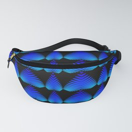 Alternating pattern of blue hearts and stripes on a black background. Fanny Pack