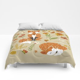 Foxes with Fall Foliage Comforters