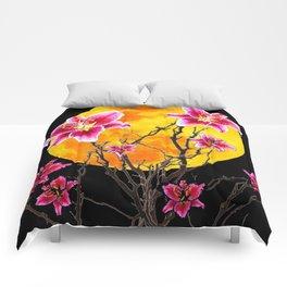 EXOTIC FUCHSIA STAR GAZER PINK LILIES MOON ART Comforters