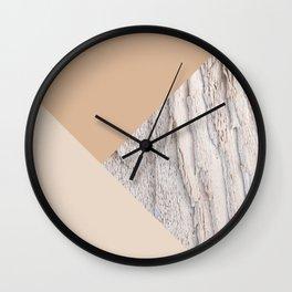 Wood meets Warm Beige Geometric #1 #minimal #decor #art #society6 Wall Clock