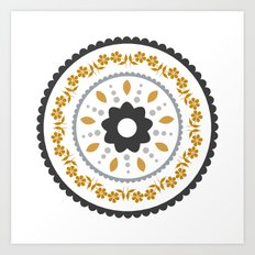 Floral suzani inspired golden centred Art Print