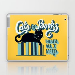 Cats and Books: That's All I Need Quote Art - Blue, Turquoise, Yellow, White, Black Laptop & iPad Skin