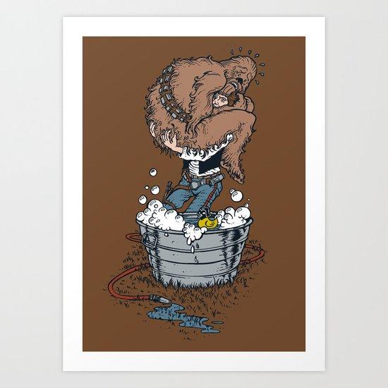 take a bath fuzzball  Art Print