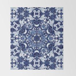 Boho Blue Medallion Throw Blanket