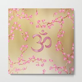 OM symbol  with gentle pastel pink flower tree branches Metal Print