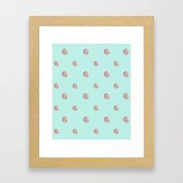 Happy Polka Dots Rose Gold on Mint #1 #decor #art #society6 Framed Art Print