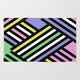 Criss Cross - Pop Art Style Geometric Criss Crossed Lines Rug