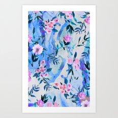 Floral Marble Swirl Art Print