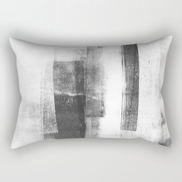 """Black and White Minimalist Geometric Abstract Painting """"Structure 3"""" Rectangular Pillow"""