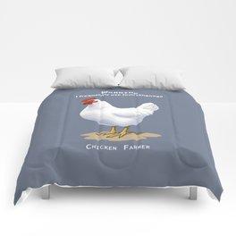 Funny White Leghorn Hen Fowl Language Chicken Farmer Comforters