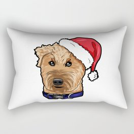 Irish Soft Coated Wheaten Terrier Dog Christmas Hat Rectangular Pillow