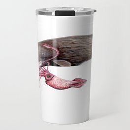 Epic battle between the sperm whale and the giant squid Travel Mug