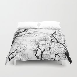 Black and white tree top silhouettes... Duvet Cover