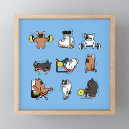 Leg Day with French Bulldog Framed Mini Art Print