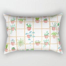Watercolor Pot Plants Rectangular Pillow