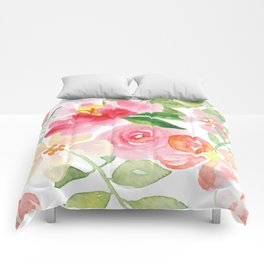 Delicate pink and yellow watercolor flowers pattern Comforters