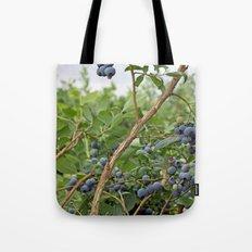 summer fruitful blueberry bushes. blueberry farm photography.  Tote Bag
