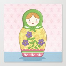 Matryoshka Doll (green & yellow) Canvas Print