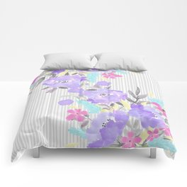 Watercolor violet pink gray stripes floral Comforters