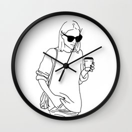 Woman with Coffee Wall Clock