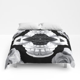 funny skull portrait with roses in black and white Comforters