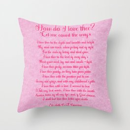 How Do I Love Thee Poem  - Pink Parchment Style Throw Pillow