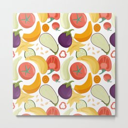 Vegetables seamless pattern in cartoon style. Bright tomatoes, bell peppers, zucchini, pumpkin, eggplants. Metal Print