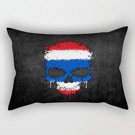 Flag of Thailand on a Chaotic Splatter Skull Rectangular Pillow