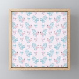 Pretty Pastel Flamingo Chevron Pattern #decor Framed Mini Art Print