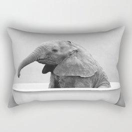 Baby Elephant Taking A Bath Rectangular Pillow