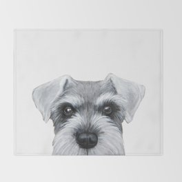 Schnauzer Grey&white, Dog illustration original painting print Throw Blanket