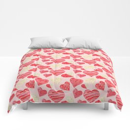 red hearts pattern pink Comforters