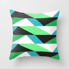 Turquoise, black & green triangles pattern Throw Pillow