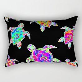 Turtle full color multicolor happy color Tortues multicolores Rectangular Pillow