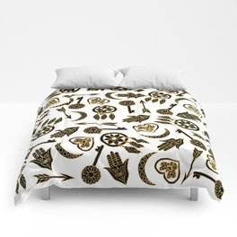 Black and Gold Popular Symbols on White Comforters