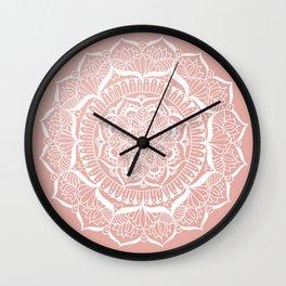 White Flower Mandala on Rose Gold Wall Clock