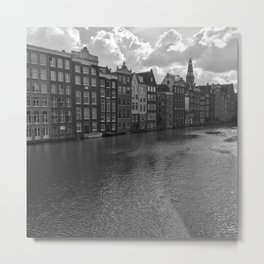 Amsterdam houses on a River in black and white Metal Print