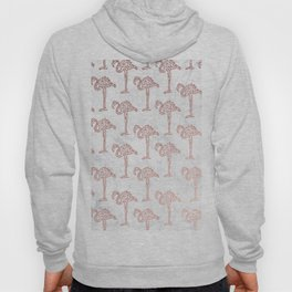 Modern rose gold geometric flamingos illustration pattern white marble Hoody