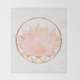 Blush Zen Lotus ~ Metallic Accents Throw Blanket