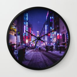 Shibuyascapes Snowy Night Wall Clock