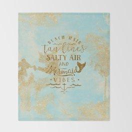 Beach - Mermaid - Mermaid Vibes - Gold glitter lettering on teal glittering background Throw Blanket