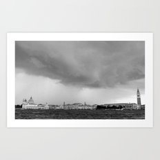 Venice in a storm, black and white 2 Art Print