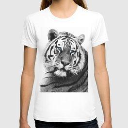 Black and white fractal tiger T-shirt