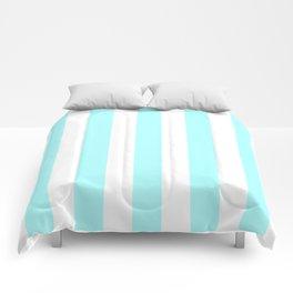 Celeste heavenly - solid color - white vertical lines pattern Comforters