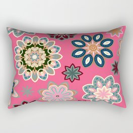 Flower retro pattern in vector. Blue gray flowers on pink background. Rectangular Pillow