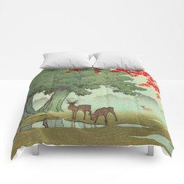 Vintage Japanese Woodblock Print Nara Park Deers Green Trees Red Japanese Maple Tree Comforters