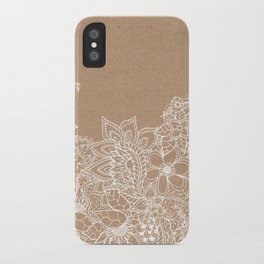 Modern white hand drawn floral illustration on rustic beige faux kraft color block iPhone Case