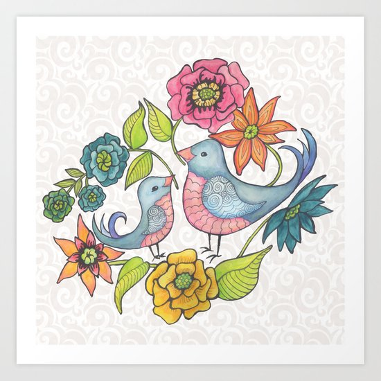 Blue Bird Garden Art Print