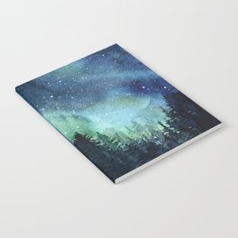 Galaxy Watercolor Aurora Borealis Painting Notebook
